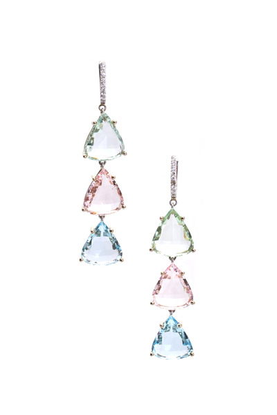 Frank Ancona - Aqua, Morganite & Green Beryl Diamond Earrings