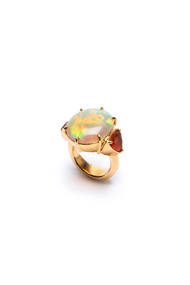 Yellow Gold Trillion-Cut Fire Opal Ring