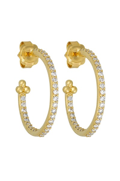 Temple St. Clair - 18K Yellow Gold Pavé-Set Diamond Hoops