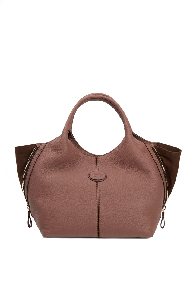 Taupe & Dark Brown Leather Small Tote