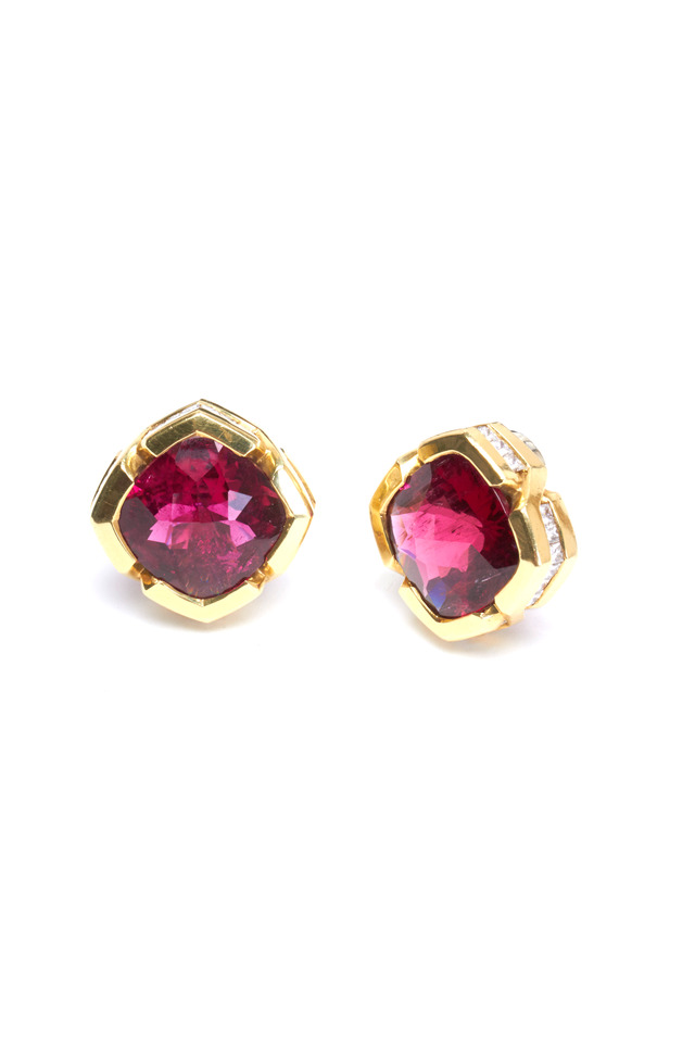 Yellow Gold Rubelite Earrings