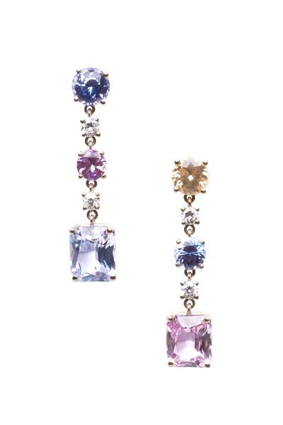 Frank Ancona - White Gold Multicolor Sapphire Drop Earrings