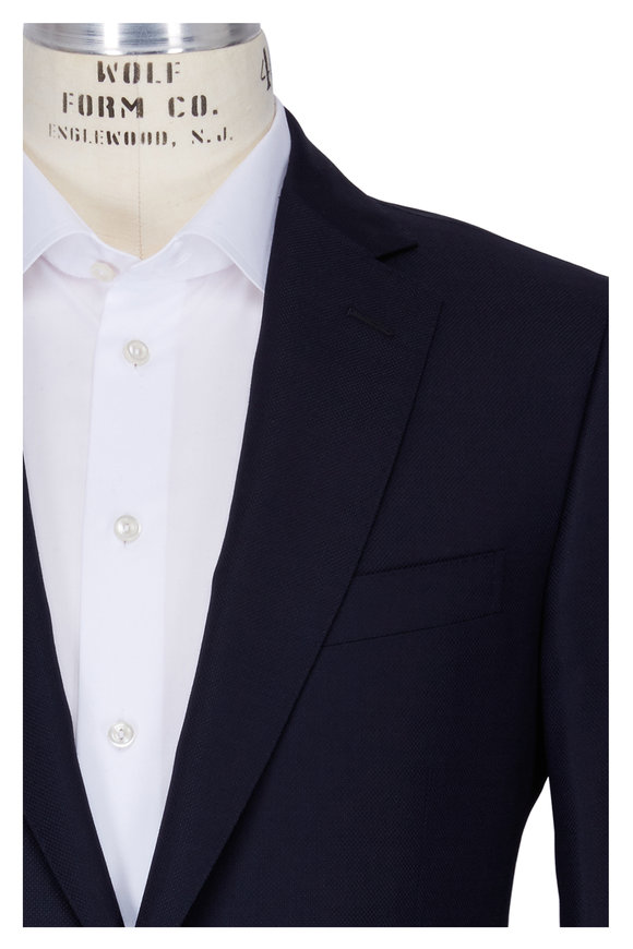 Pal Zileri  Solid Navy Blue Wool Sportcoat