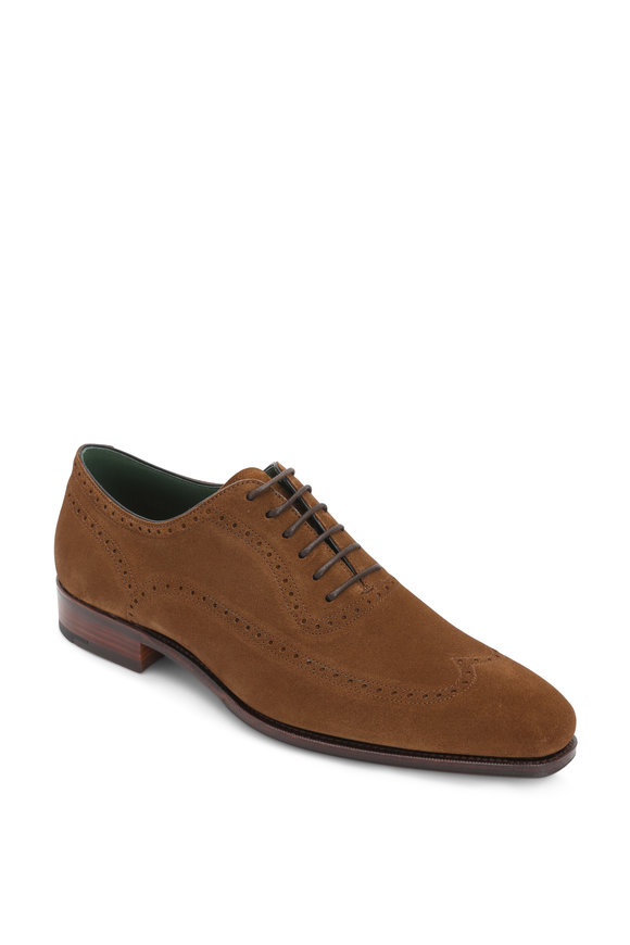 Carmina Medium Brown Suede Wingtip Oxford