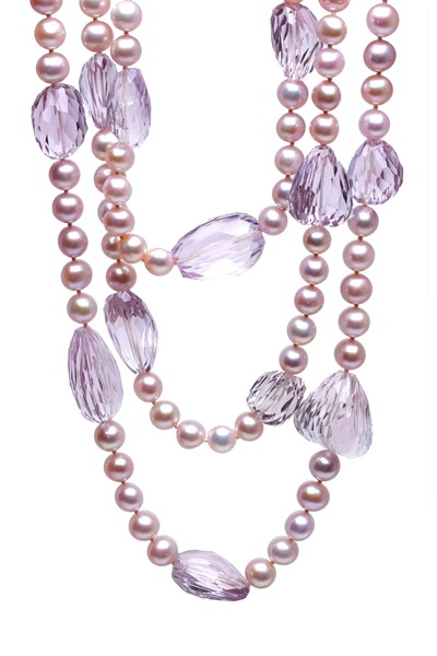 Frank Ancona - Yellow Gold Rose De France Amethyst Bead Necklace