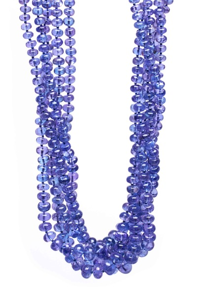 Frank Ancona - White Gold Tanzanite Cab Bead Necklace