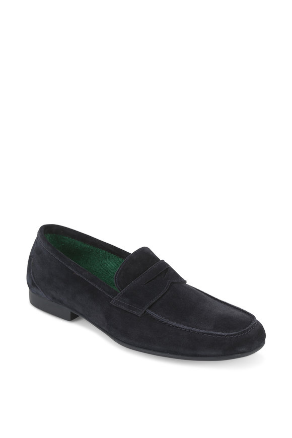 Fratelli Rossetti Navy Blue Suede Yacht Penny Loafer