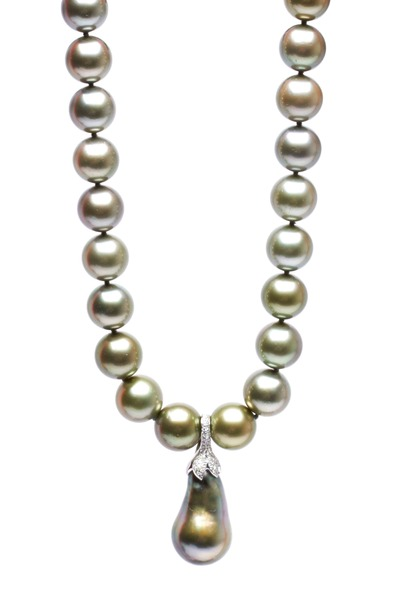 Frank Ancona - Grey Tahitian Pearl Diamond Necklace