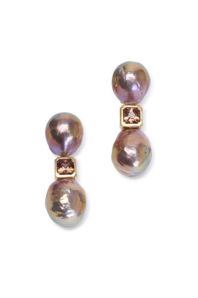 Frank Ancona - Yellow Gold Pearl & Bronze Zircon Drop Earrings