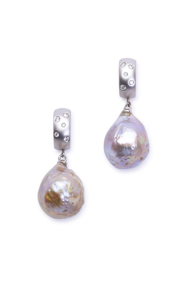 Gold Freshwater Bronze Pearl Diamond Earrings