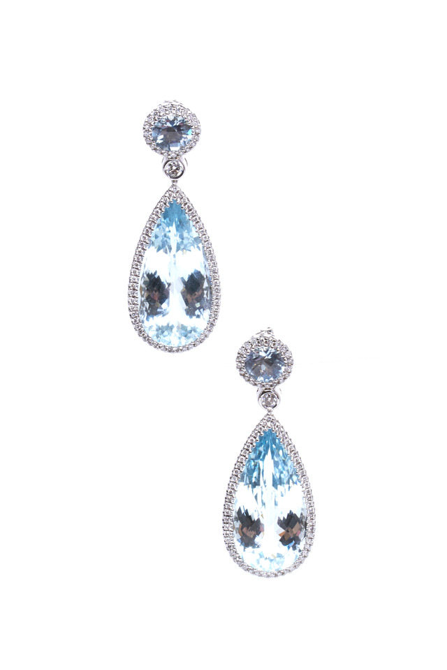 White Gold Aqua & Diamond Earrings