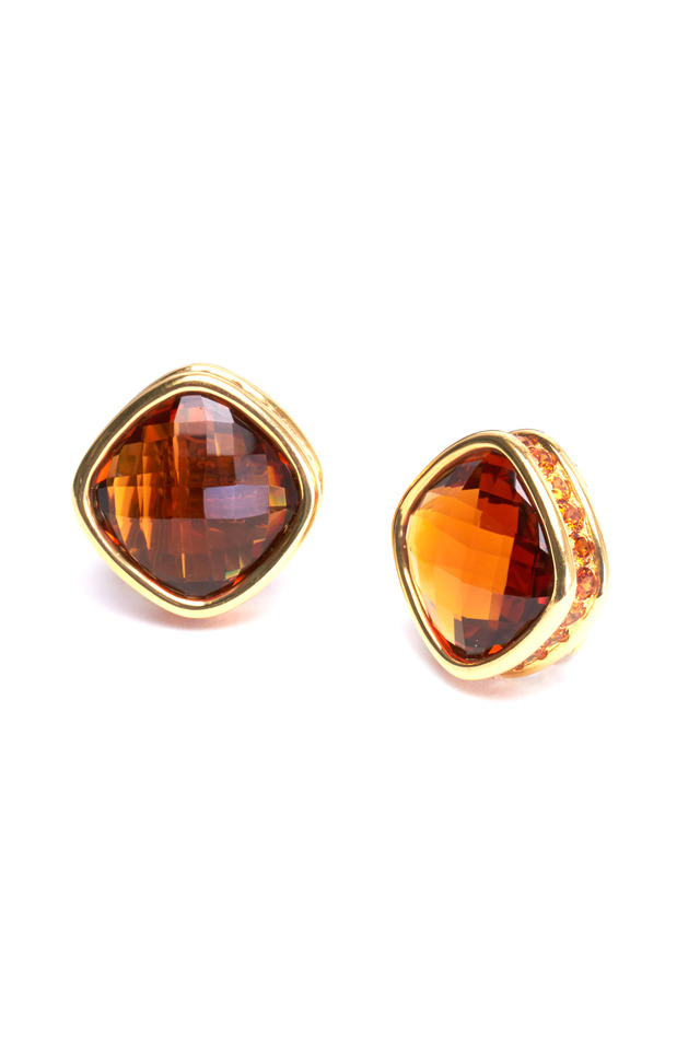 Yellow Gold Checkerboard Citrine Earrings