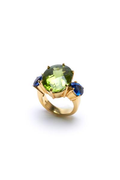 Frank Ancona - Gold Pear Peridot & Blue Sapphire Ring