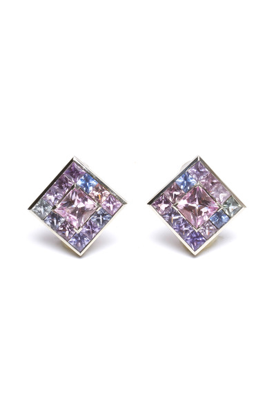 Frank Ancona - White Gold Kunzite & Sapphire Earrings