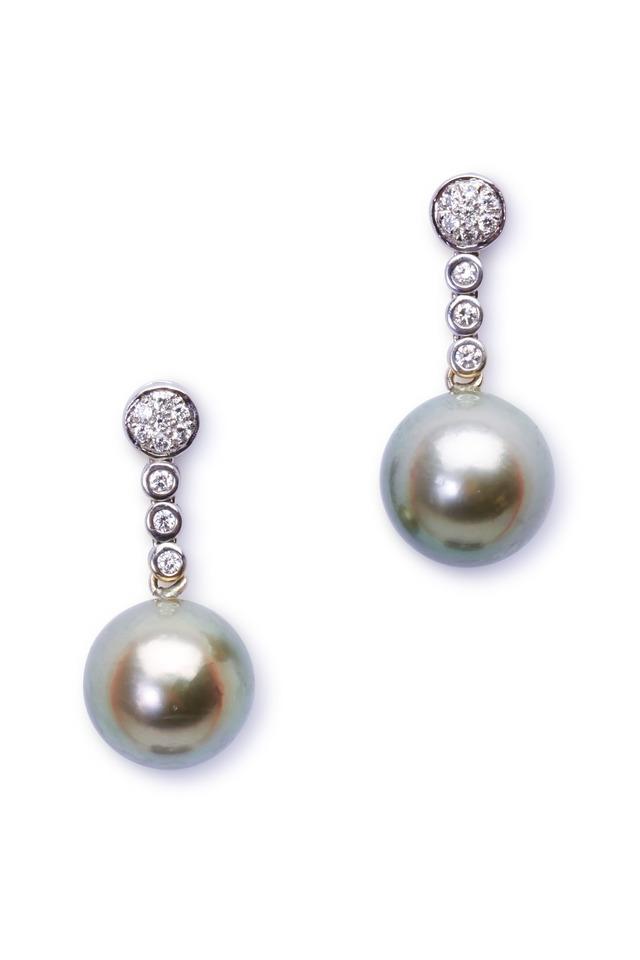 White Gold Pistachio Pearl Diamond Earrings