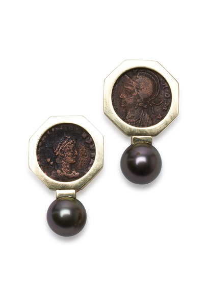Frank Ancona - Yellow Gold Ancient Coin Tahitian Pearl Earrings