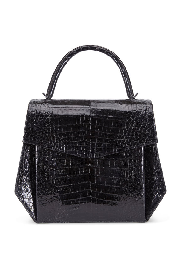 Nancy Gonzalez Black Crocodile Hexagon Top Handle Bag