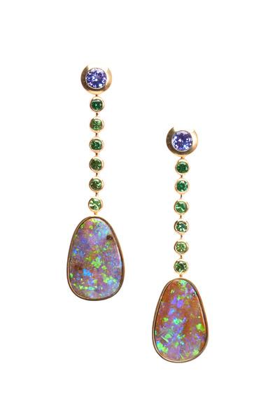 Frank Ancona - Gold Boulder Opal Tanzanite Tsavorite Earrings