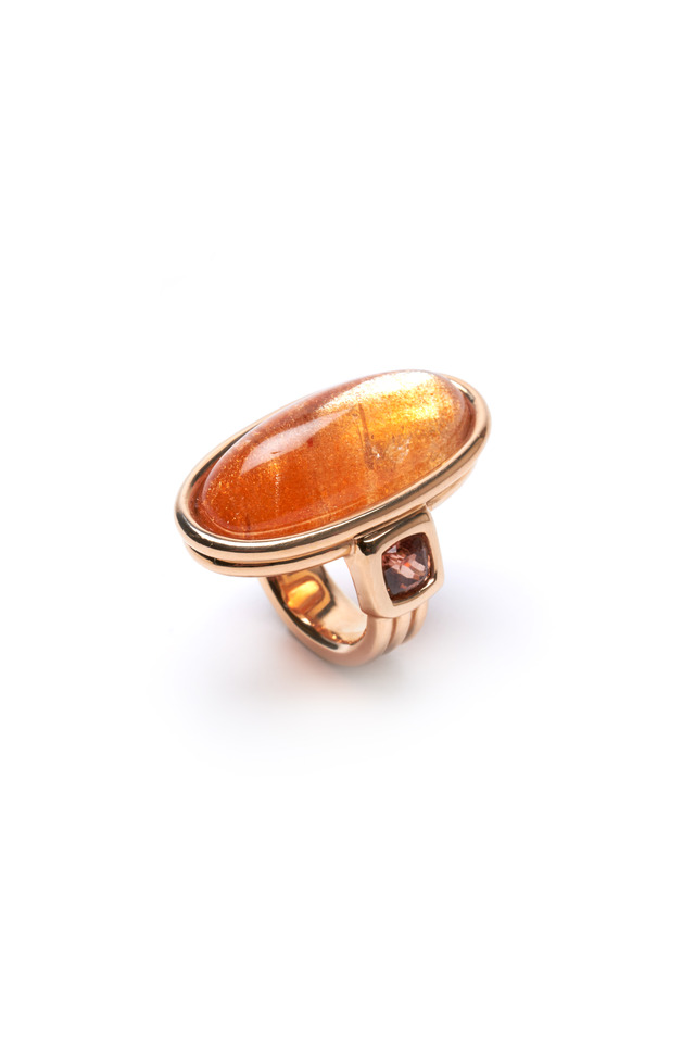 Yellow Gold Peach Sunstone Zircon Ring