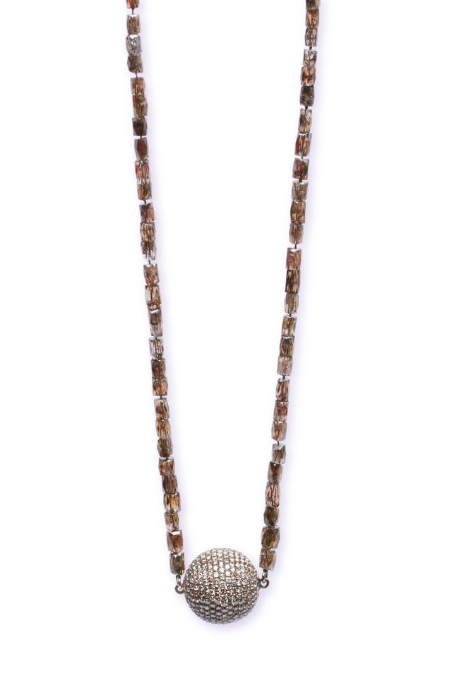 Cognac & Champagne Diamond Ball Necklace