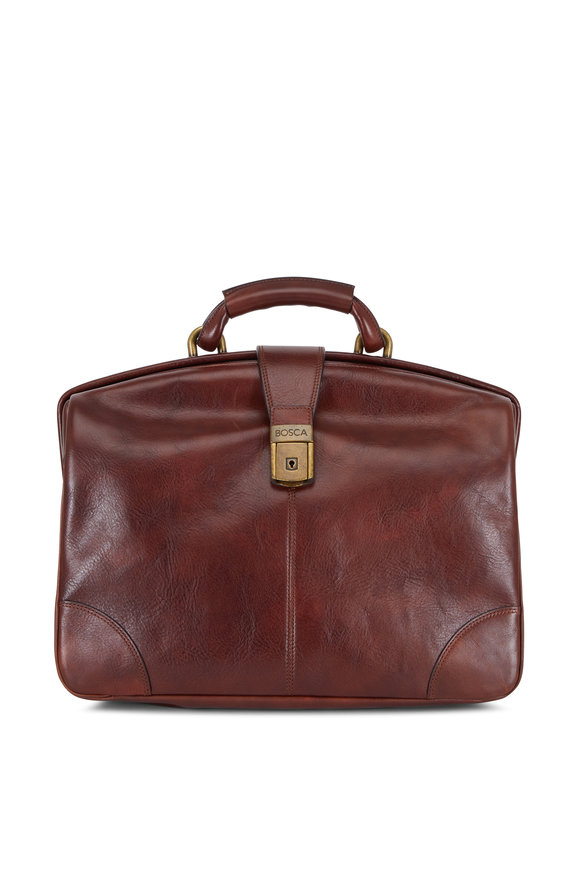 Bosca Dark Brown Leather Partners Soft Briefcase