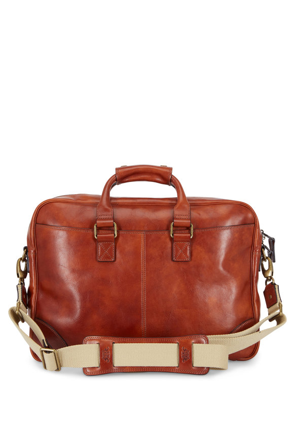 Bosca Dolce Light Brown Leather Zip Top Briefcase