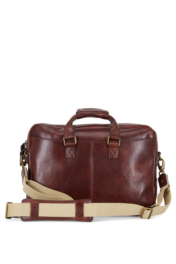 Bosca Dolce Dark Brown Leather Zip Top Briefcase