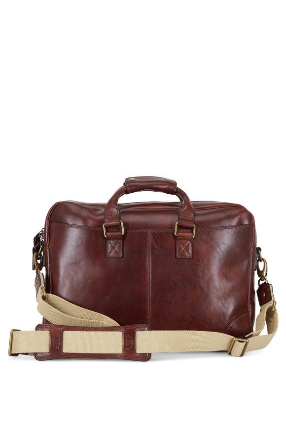 Bosca Dolce Dark Brown Leather Zip Top Briefcase