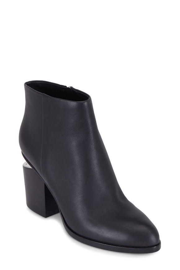 Alexander Wang Gabi Black Leather Ankle Boot, 75mm
