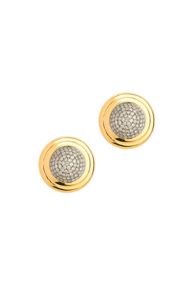 Gold Champagne Diamond Clip Back Earrings