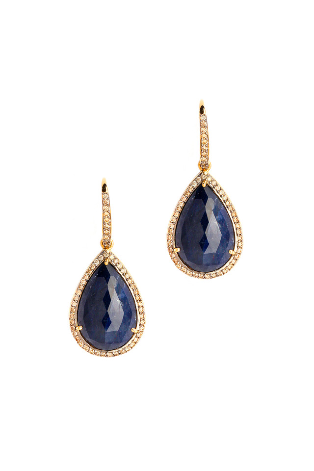 Gold Blue Sapphire & Champagne Diamond Earrings