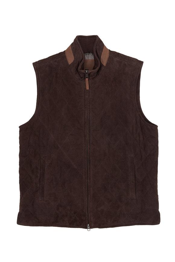 Golden Bear Silverado Dark Brown Quilted Leather Vest