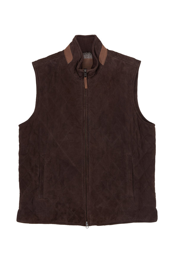 Golden Bear Silverado Dark Brown Quilted Leather Vest