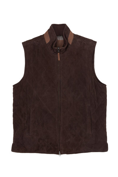 Golden Bear - Silverado Dark Brown Quilted Leather Vest
