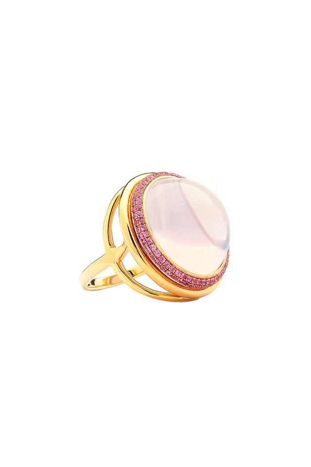 Mogul Gold Lavender Moon Quartz Pink Sapphire Ring