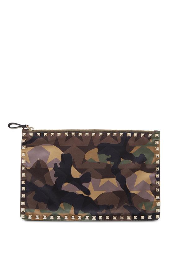 Valentino Rockstud Army Green Graphic Camo Nylon Large Pouch