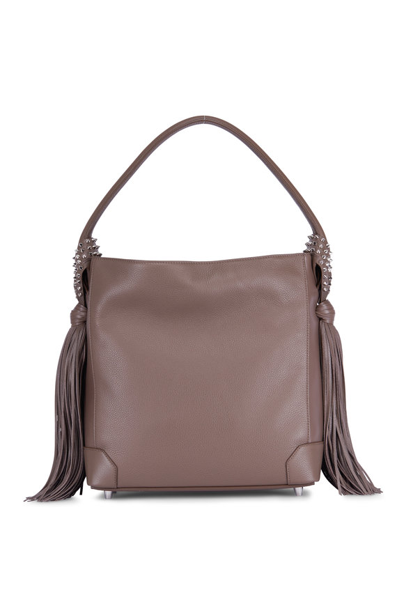 Christian Louboutin Eloise Lichen Leather Fringed Hobo Bag