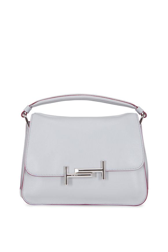Tod's Double T Gray Leather Top Handle Bag