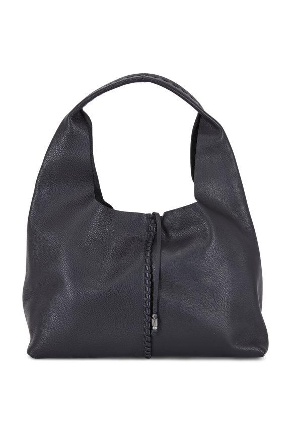 Henry Beguelin Isotta Ricamo Black Cervo Leather Hobo Bag