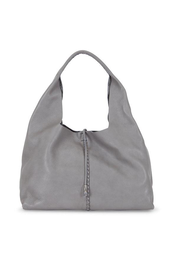 Henry Beguelin Isotta Ricamo Gray Cervo Leather Hobo Bag