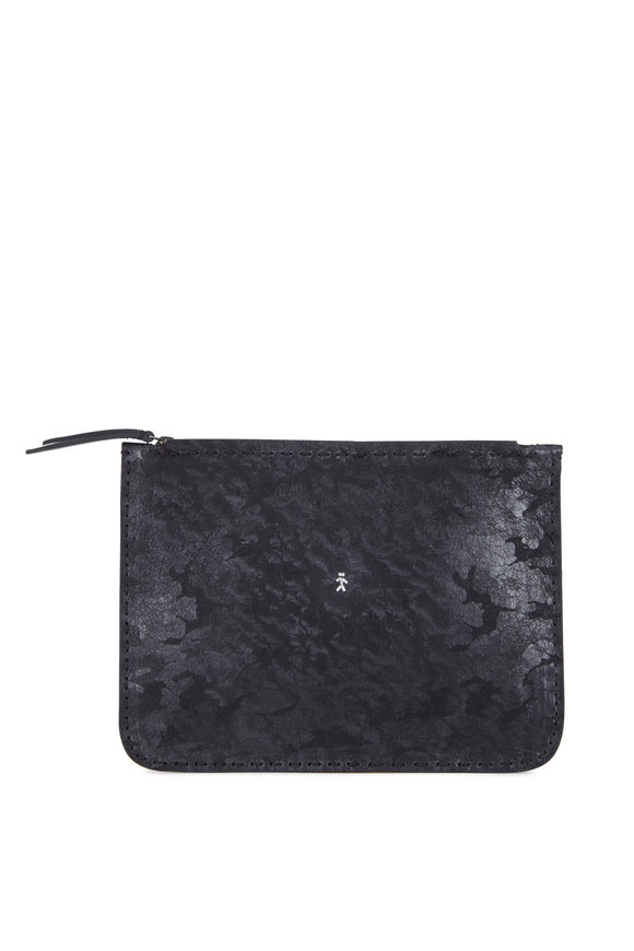 Henry Beguelin Miki Black Camo Embossed Leather Zip Pouch