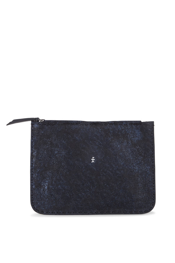 Henry Beguelin Miki Navy Blue Glitter Leather Zip Pouch