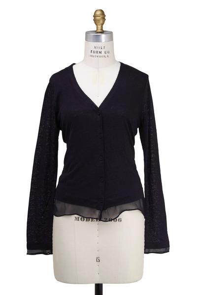 Majestic - Black Linen Chiffon Cardigan