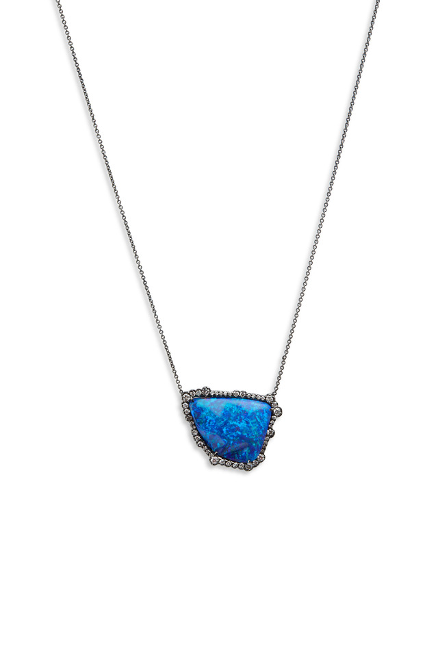 White Gold Boulder Opal Irregular Diamond Pendant