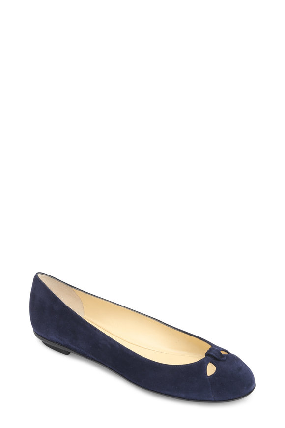 Sarah Flint Lucille Navy Blue Suede Ballet Flat
