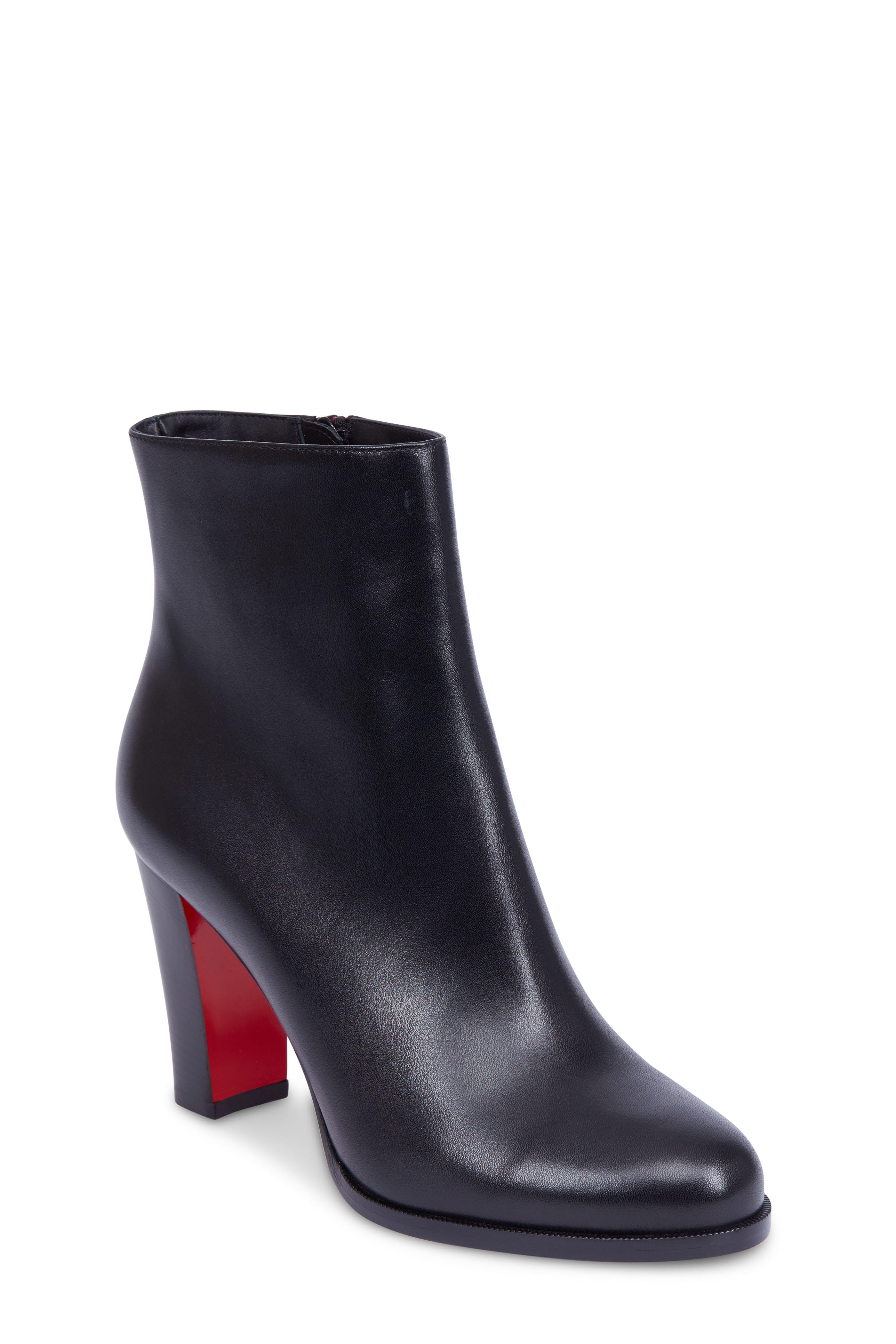 huge selection of ad28a 61318 Christian Louboutin - Adox Black Leather Stack Heel Ankle ...