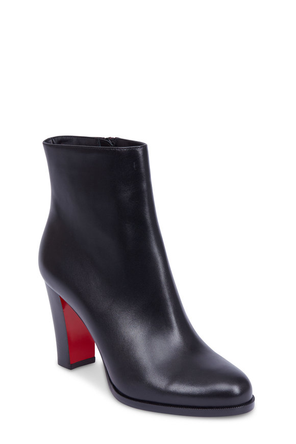 Christian Louboutin Adox Black Leather Stack Heel Ankle Boot, 85mm