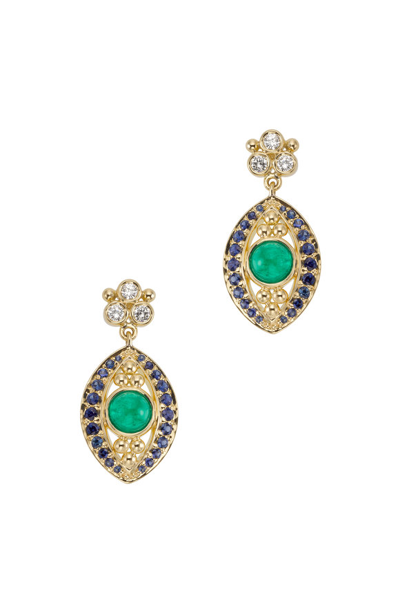 Temple St. Clair 18K Yellow Gold Evil Eye Drop Earrings