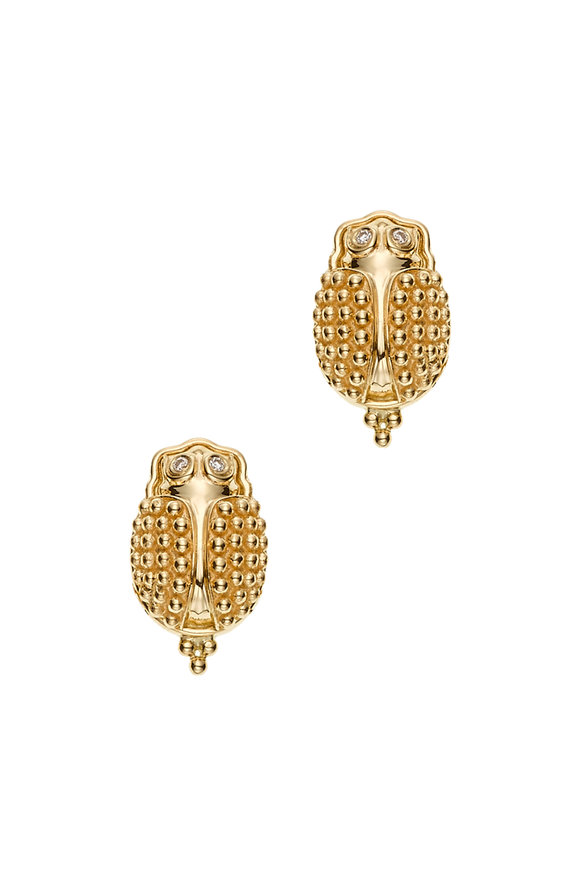 Temple St. Clair 18K Yellow Gold Scarab Earrings