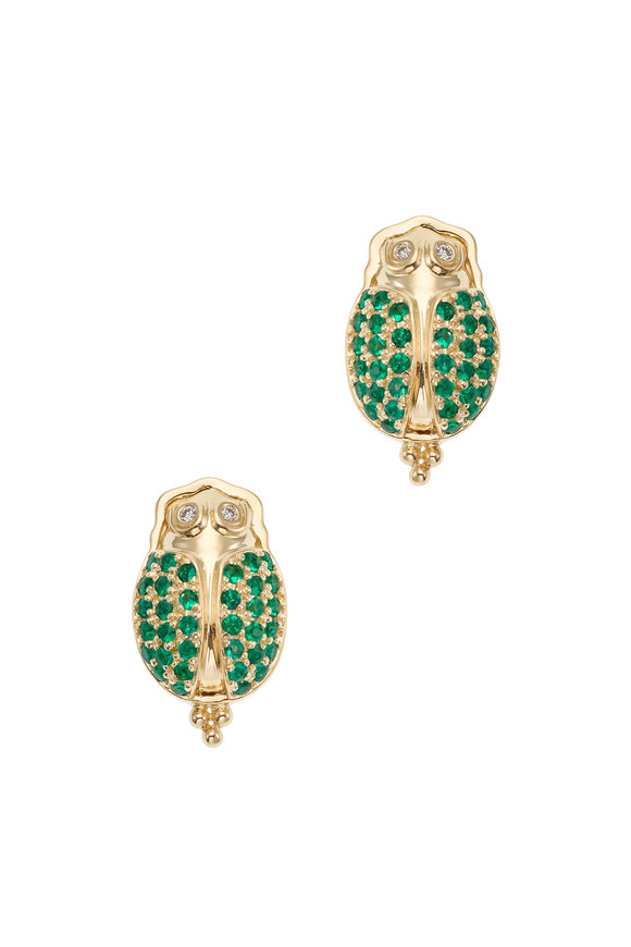 Temple St. Clair 18K Yellow Gold Ermerald Scarab Earrings